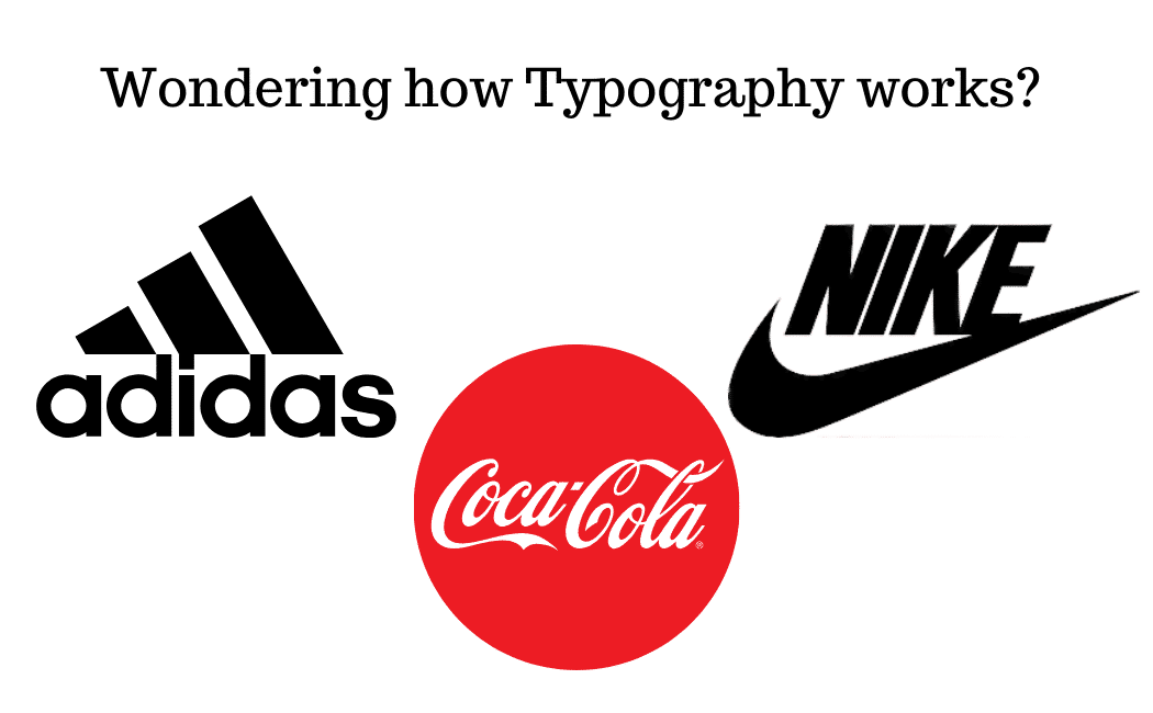 The title Wondering how Typography works showing red color of coca cola brand and black color of Adidas and just do it with different font.