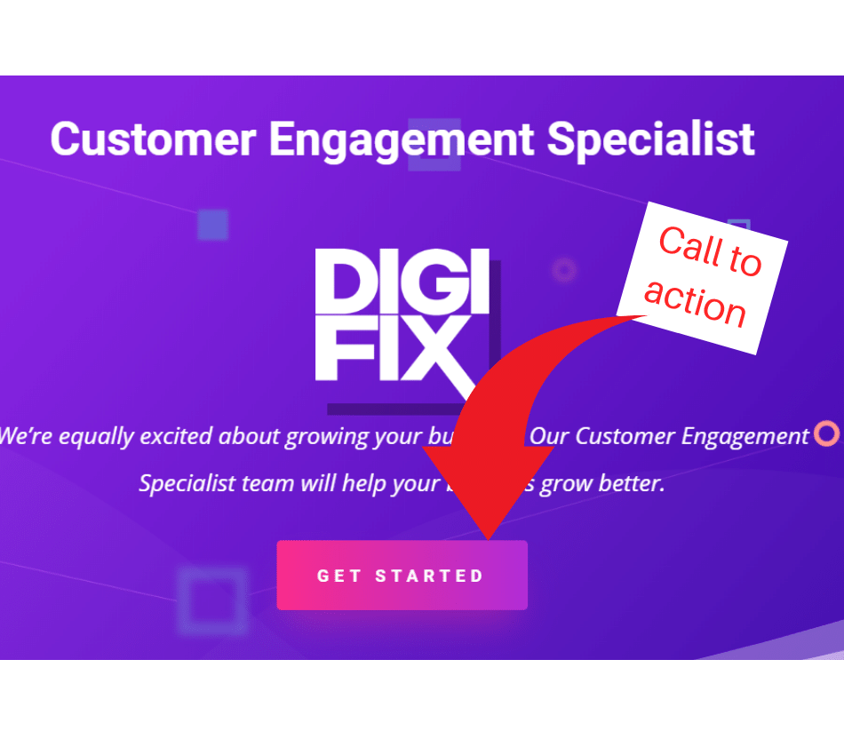 A blue picture of a DIGI FIX website with red arrow indicate CTA of website is is GET STARTED