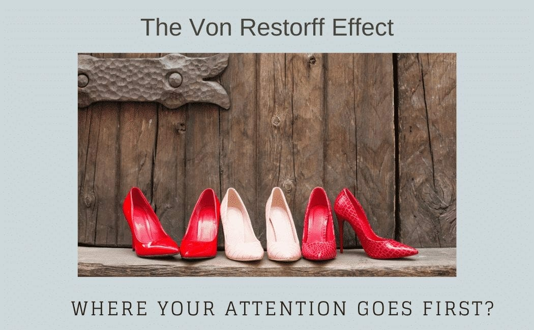 A picture with red and nude heels describing The Von Restorff Effect