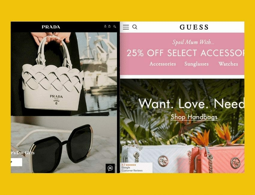 Prada and Guess Website's competition for mothers day offers